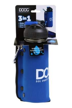 Комплект дорожный  для собак DOOG (бутылка 600мл + миска), синяя
