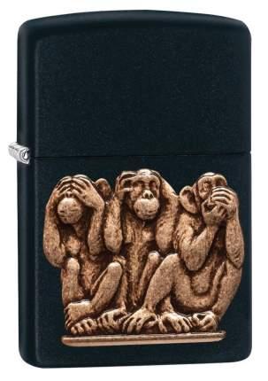 Бензиновая зажигалка Zippo Three Monkeys Black Matte