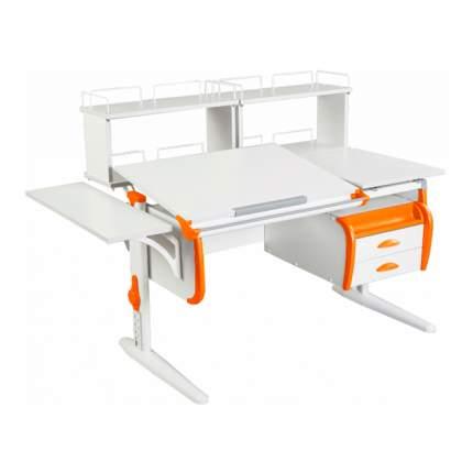 Парта Дэми СУТ 25-05Д2 WHITE DOUBLE со столешницей белый, оранжевый, белый,
