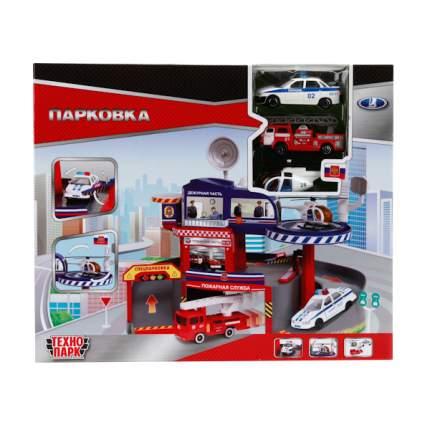 Парковка Технопарк со спуском, 2 металлические машинами и вертолетом 7,5 см 6 шт.