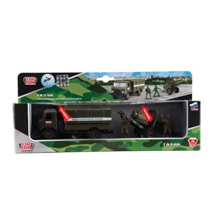 ГАЗ Технопарк инерционный, металлический 66 вс с пушкой, со светом и звуком, 1:43