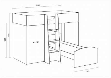 Двухъярусная кровать Golden Kids 4 дуб сонома/венге