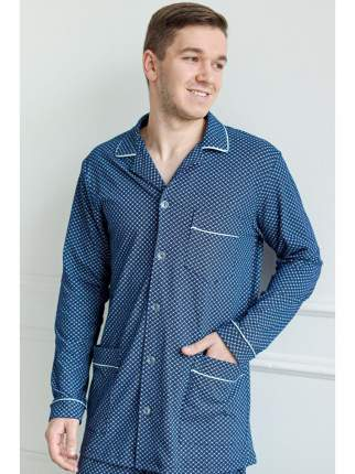Мужская трикотажная пижама из кулирки LikaDress 6258 синяя, р.60