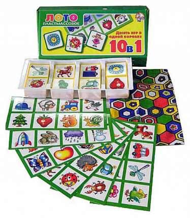 Игра Лото для малышей Десятое королевство 10 игр в одной коробке 1740