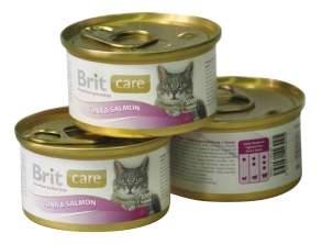Консервы для кошек Brit Care, лосось, рыба, 12шт, 80г
