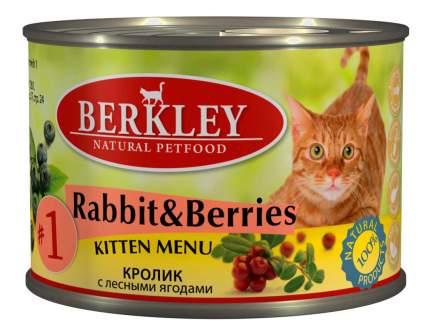 Консервы для котят Berkley Kitten Menu, кролик, 6шт, 200г