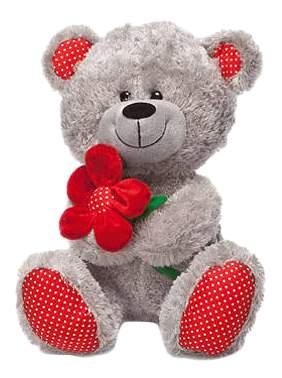 Мягкая игрушка LAVA Медведь с красным цветком, 28 см