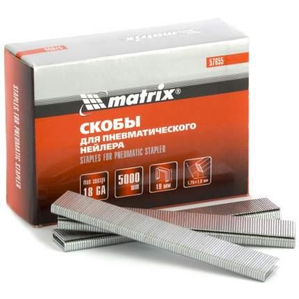 Скобы для электростеплера MATRIX 18GA 1,25х1,0мм 19 мм 5,7 мм, 5000 шт 57655