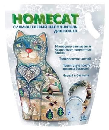 Впитывающий наполнитель для кошек HOMECAT силикагелевый, Морозная свежесть, 1.8 кг, 3.6 л