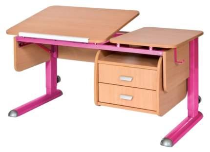 Парта Астек Твин 2 С подвесной тумбой Бук Розовый