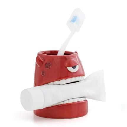 Стакан для зубной пасты и щеток Monster красный