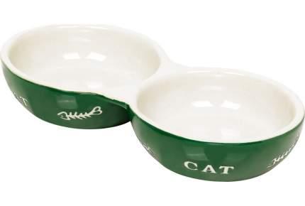 Миска для кошек Nobby с рисунком Cat, двойная, керамическая, зеленая, 22x11,5x3,5 см