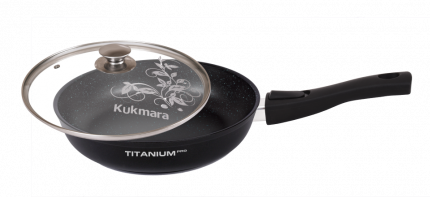 Сковорода антипригарная литая 28см съемн/руч стекляная крышка Titanium pro