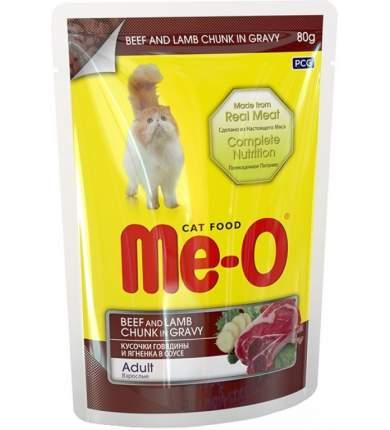 Влажный корм для кошек Me-O Adult, говядина в желе, 12шт по 80г