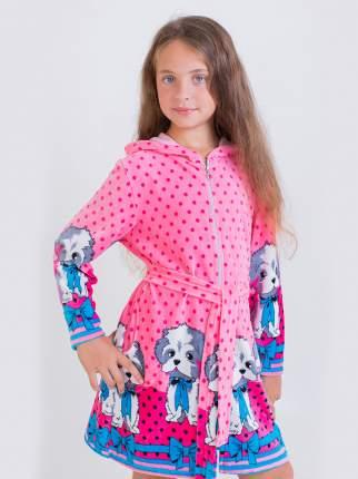 Халат Стиляж Дракоша розовый с собачками для девочки Разм.116