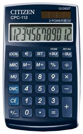 Калькулятор Citizen CPC-112BLWB, 12 разрядов, двойное питание, 120х72 мм, Синий