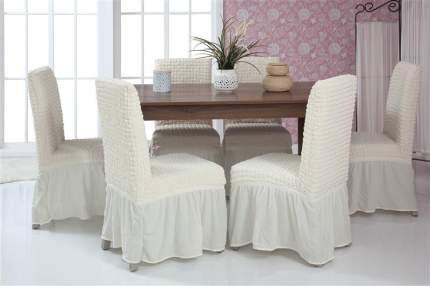 """Чехлы на стулья с оборкой Venera """"Chair cover"""", цвет: белый, комплект 6 шт"""