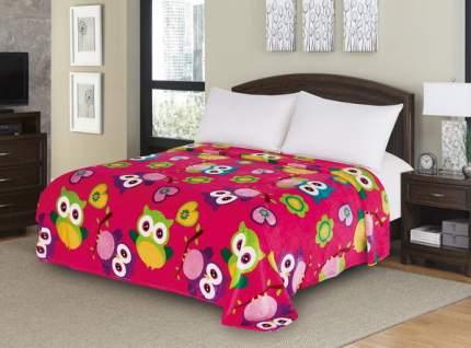 Плед в ясельную кровать Текс-Дизайн Совушки велсофт малиновый 90х120