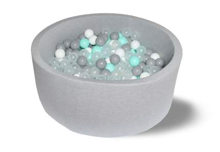 Сухой игровой бассейн Волна 40см с 200 шарами: белый, серый, мятный, прозрачный