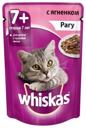 Влажный корм для кошек старше 7 лет Whiskas рагу с ягненком, 24 шт по 85г