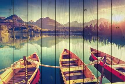 Картина на дереве Лодки на берегу 100 х 150 см