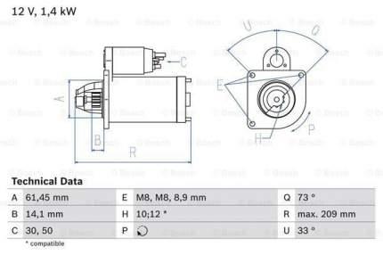 Стартер Bosch 0 986 022 121