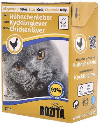 Влажный корм для кошек Bozita Feline куриная печень 370 г
