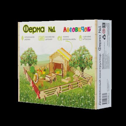 Конструктор ЛЕСОВИЧОК les 022 Ферма №1 набор из 105 деталей