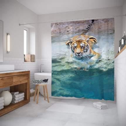 Штора для ванной JoyArty «Прохлада для тигра» 180x200