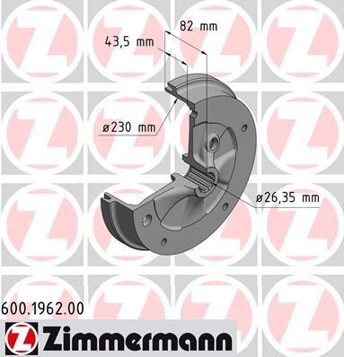 Тормозной барабан ZIMMERMANN 600.1962.00