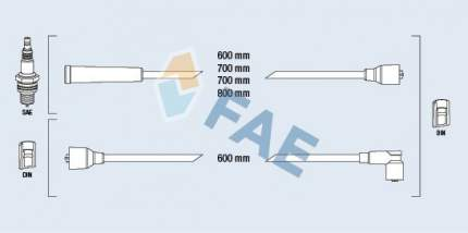 Комплект проводов зажигания FAE 83450