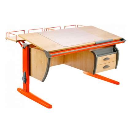 Парта ДЭМИ СУТ-15-04 120х55 см + 2 задние приставки и тумба клен, оранжевый,