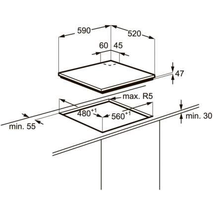 Встраиваемая варочная панель газовая Electrolux EGT96342YK Black