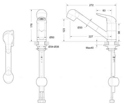 Смеситель для кухонной мойки BRAVAT Omega F785129CP-RUS хром