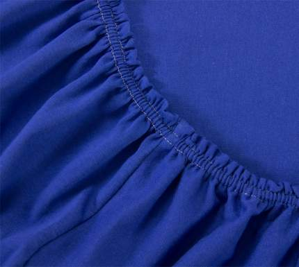 Простыня трикотажная на резинке (синяя) 180х200х20