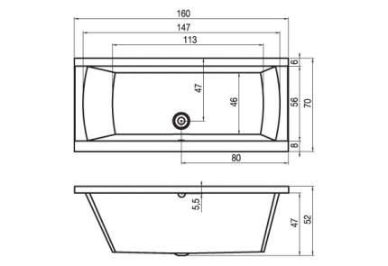 Акриловая ванна Riho Julia 160х70 без гидромассажа