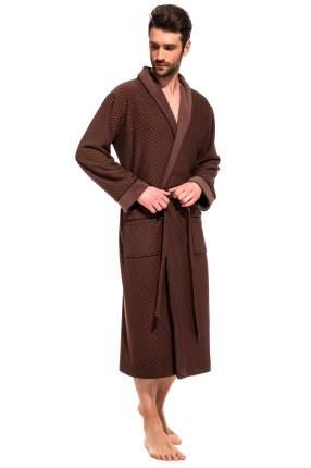 Мужской облегченный махровый халат из бамбука Peche Monnaie 419, шоколадный, XL