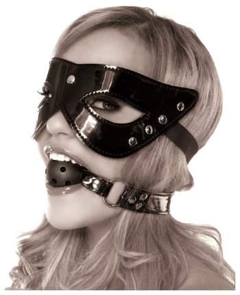 Комплект маска и кляп Pipedream Masquerade Mask Ball Gag лаковый черный
