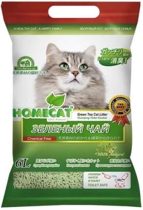 Наполнитель для кошачьего туалета HOMECAT Эколайн Зеленый чай, комкующийся, 6 л, 2,8 кг