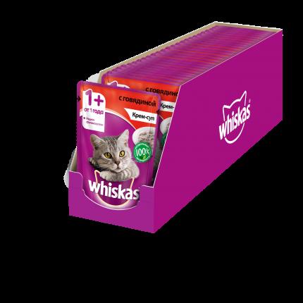 Влажный корм для кошек Whiskas крем-суп с говядиной, 24 шт по 85г