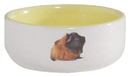 Одинарная миска для грызунов Beeztees, керамика, белый, желтый, 0.16 л