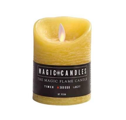 Светильник свеча восковая с живым пламенем, 10*7.5 см, желтый, батарейка MB-20209
