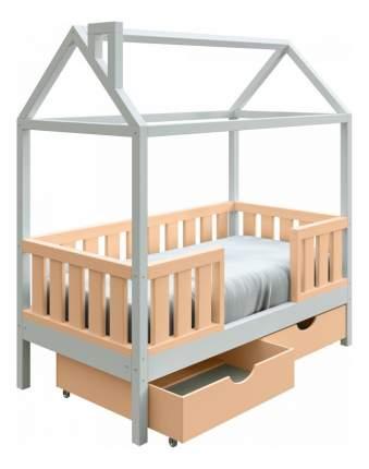 Кровать-домик Трурум KidS Сказка широкий бортик, ящики персиково-белая
