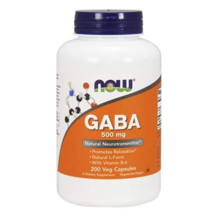 NOW GABA + B6 500 мг (200 капсул)  - Гамма-аминомасляная кислота ГАМК