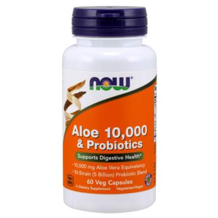 NOW Aloe 10000 + Probiotics (60 капсул) - Алое вера и комплекс пробиотиков