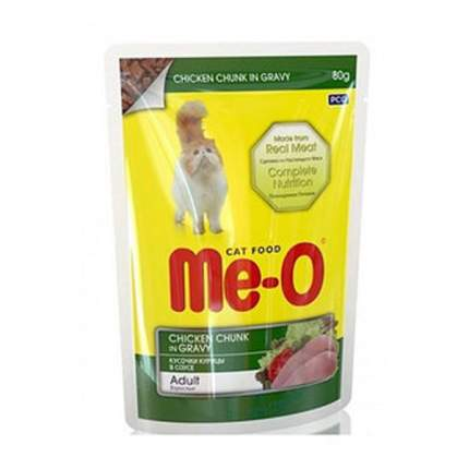 Влажный корм для кошек Me-O Adult, курица в соусе, 12шт по 80г
