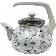Чайник для плиты Interos Кружево 2,2л эмалированный со стекл. кр.