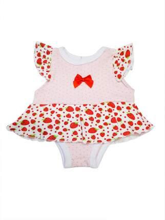 Платье-боди для куклы Колибри 53 розвый, красный, белый