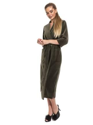 Женский удлиненный велюровый халат EvaTeks 383, оливковый, 50-52