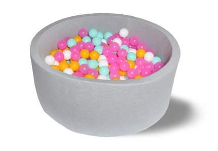 Сухой игровой бассейн Радужный серый 40см с 200 шарами: белый, розовый, мятный, желтый